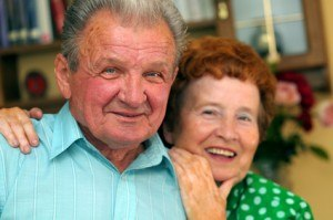 smiling happy older couple